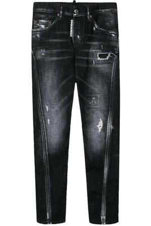 Dsquared2 Kids Distressed Twist Jeans Dark Grey - DARK GREY 10 YEARS