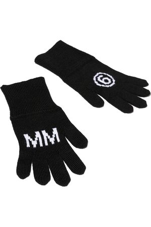 MM6 KIDS Logo motif knitted gloves