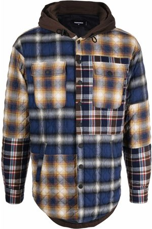 Dsquared2 Mixed-check hooded jacket