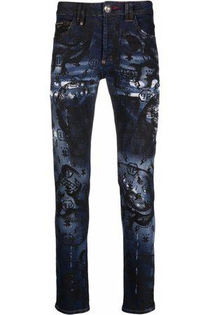 Philipp Plein Monogram-print straight-cut jeans