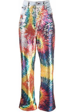 Philipp Plein Tie dye-print sequinned jeans