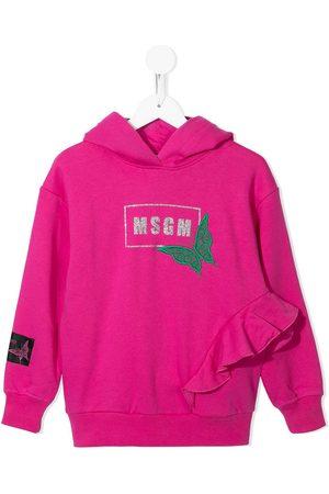 Msgm Logo ruffled hoodie