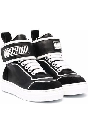 Moschino Logo-print high-top leather sneakers