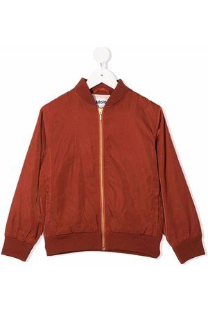 Molo Kids Floral-detail zip-up bomber jacket