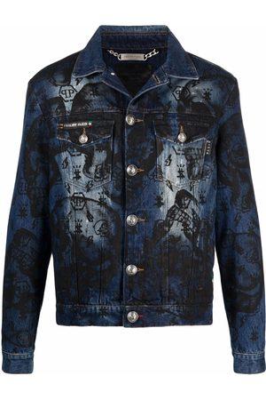 Philipp Plein Heren Donsjassen - Skull-print denim jacket