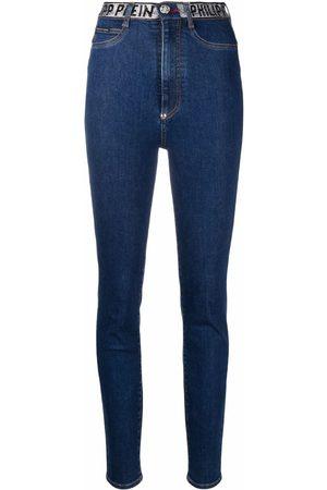 Philipp Plein Dames Skinny - Logo-embellished skinny-leg jeans
