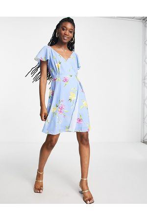 French Connection Floral tie sleeve mini dress in blue
