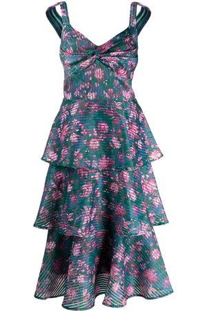 Marchesa Notte Dames Feestjurken - Floral-print tiered flared midi dress