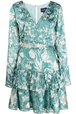 Marchesa Notte Dames Feestjurken - Floral-print V-neck mini dress