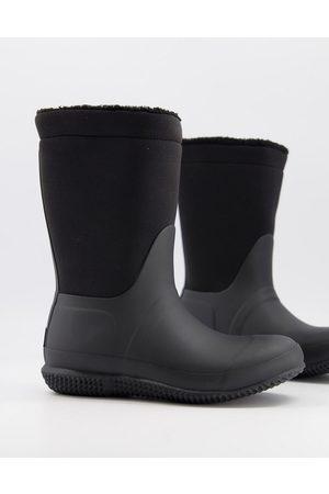 Hunter Original vegan teddy lined fold wellington boots in black