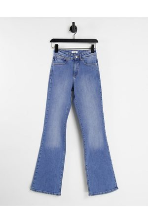 Wrangler High rise flare jeans in mid wash blue