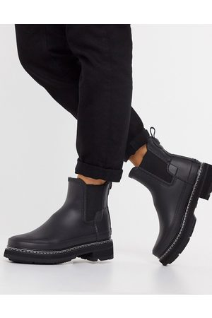 Hunter Refined vegan stitch chunky ankle boots in black