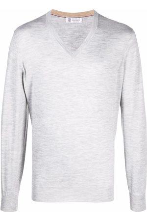 Brunello Cucinelli V-neck cashmere-silk jumper