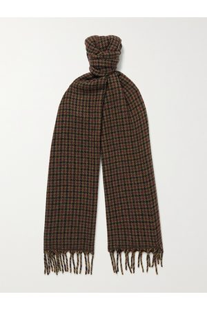 Loro Piana Heren Sjaals - Fringed Houndstooth Cashmere Scarf