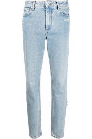 OFF-WHITE Dames Straight - Logo-patch denim jeans