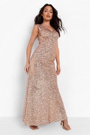 Boohoo Dames Lange jurken - Mouwloze Maxi Bruidsmeisjes Jurk Met Pailletten, Rose Gold