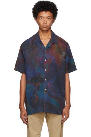 Paul Smith Heren Korte mouw - Navy Oil Slick Short Sleeve Shirt
