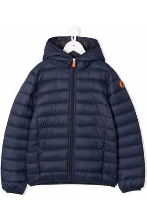 save the duck Logo-patch hooded puffer jacket