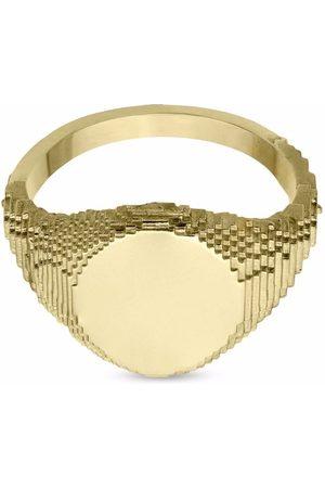 HARRIET MORRIS 9kt yellow Glitch signet ring