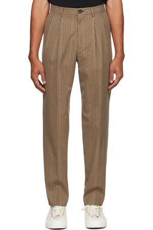 Paul Smith Brown Check Pleated Trousers