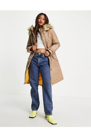 French Connection Faux fur lined parker jacket in beige and mustard-Multi