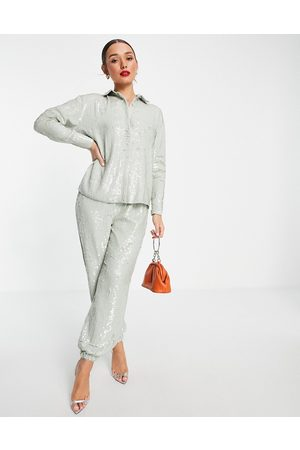 ASOS Sequin jogger in sage green