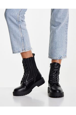 ASOS Aim knitted lace up boots in black