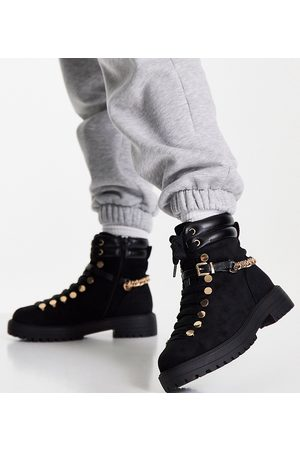 ASOS Wide Fit Arabelle chain trim hiker boots in black