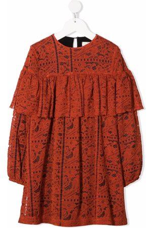 Le pandorine Meisjes Casual jurken - Lace-pattern ruffled dress
