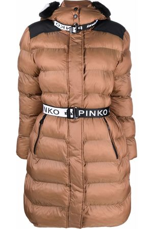 Pinko Hooded belted puffer coat