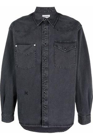 Kenzo Embroidered-monogram denim shirt