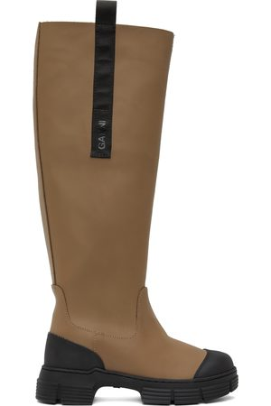 Ganni Brown Recycled Rubber Country Tall Boots