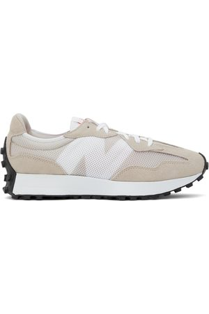 New Balance Tan & White 327 Sneakers