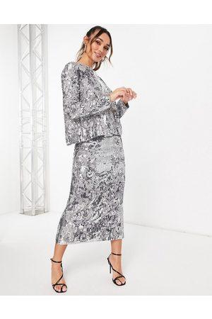 ASOS Mirrored cat sequin midi skirt-Silver