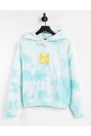 Obey Relaxed hoodie with front logo in tie dye-Blue