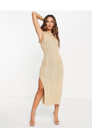 ASOS Cable knit midi dress with open back and thigh split detail in taupe-Brown