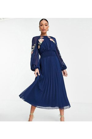 ASOS ASOS DESIGN Tall dobby shirred waist open back pleated midi dress with embroidery in navy