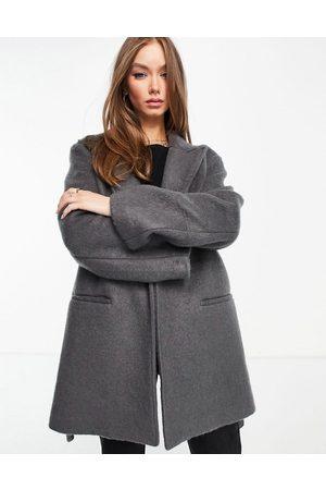 ASOS Oversized brushed grandad coat in grey