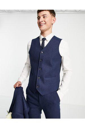 ASOS Wedding super skinny wool mix suit waistcoat in navy herringbone