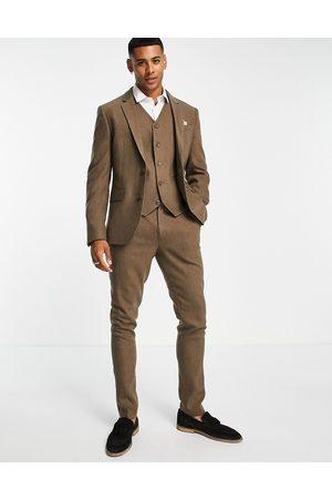 ASOS Wedding skinny wool mix suit trousers in camel herringbone-Neutral