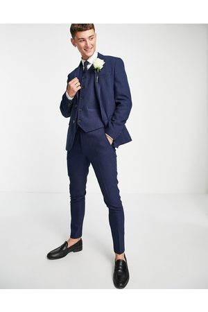 ASOS Wedding super skinny wool mix suit trousers in navy herringbone