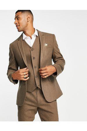ASOS Wedding skinny wool mix suit jacket in camel herringbone-Neutral