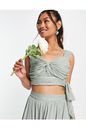 ASOS Bridesmaid ruched crop top with wrap detail co-ord-Green