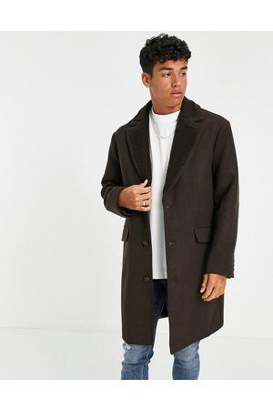 ASOS Overcoat with borg collar in brown