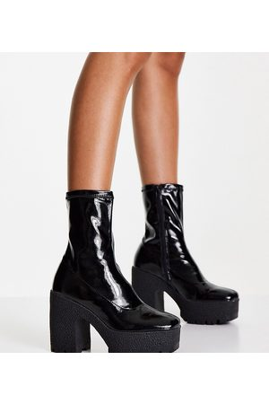 ASOS Wide Fit Elena high heeled sock boots in black patent