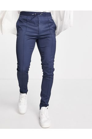 ASOS Smart skinny trouser with drawcord waist in navy texture