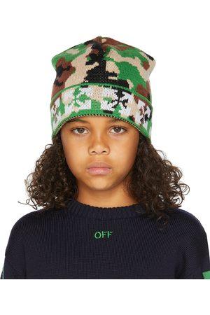 OFF-WHITE Mutsen - Kids Green & White Camou Beanie