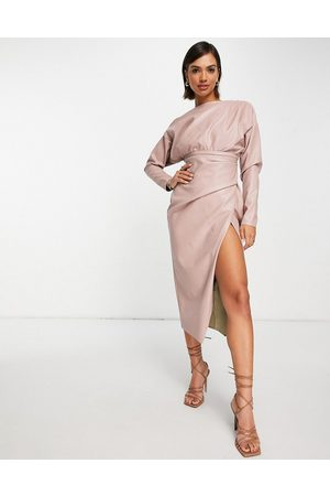 ASOS Off shoulder PU midi dress with tuck detail bodice in blush-Pink
