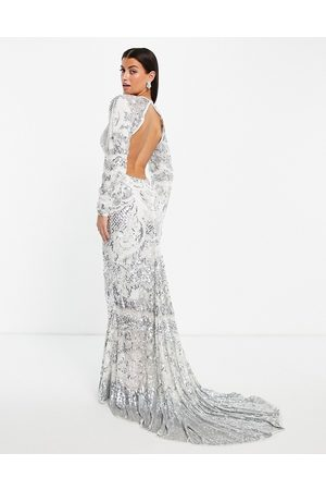 ASOS Delilah floral embellished wedding dress with fishtail in silver