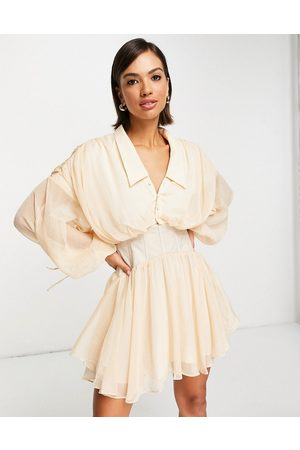 ASOS Soft plunge mini shirt dress with corset detail and drape back in blush-Pink